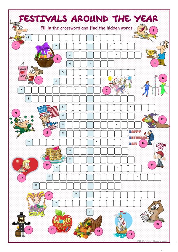 Festivals Around the Year Crossword Puzzle