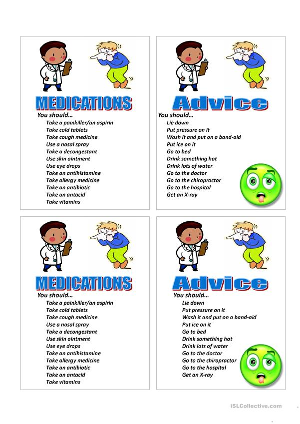 Give Medical Advice Vocabulary & Game