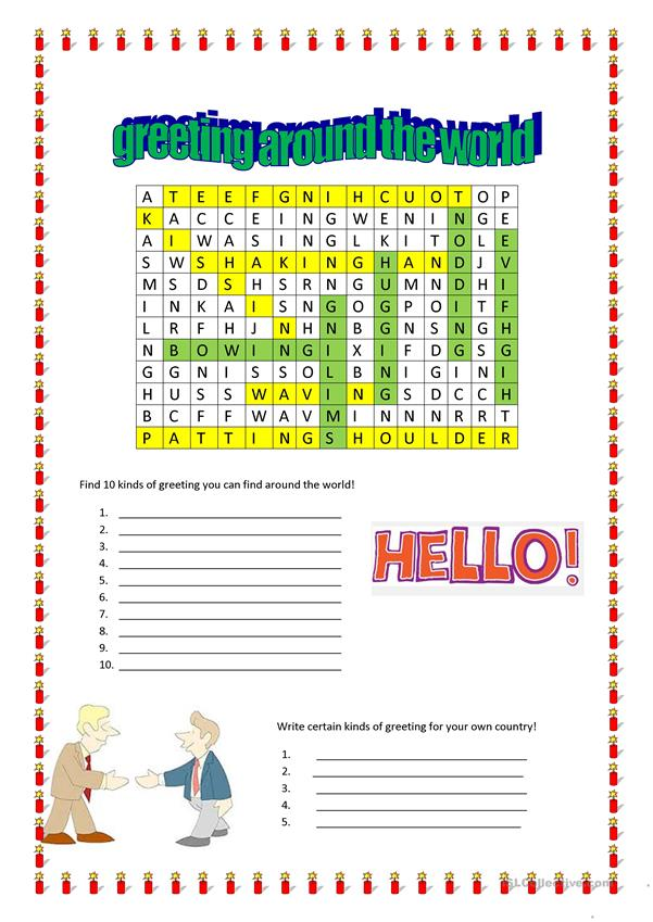 greeting around the world wordsearch