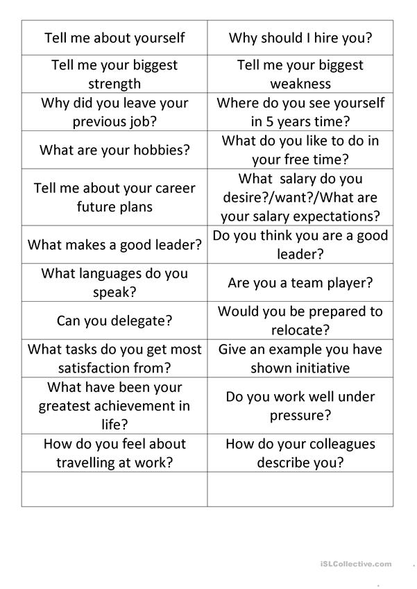 Job Interview Cards