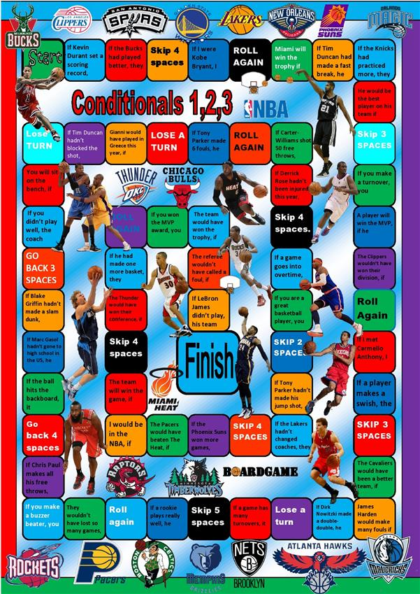 NBA Conditionals 1,2,3 Speaking Activity Boardgame