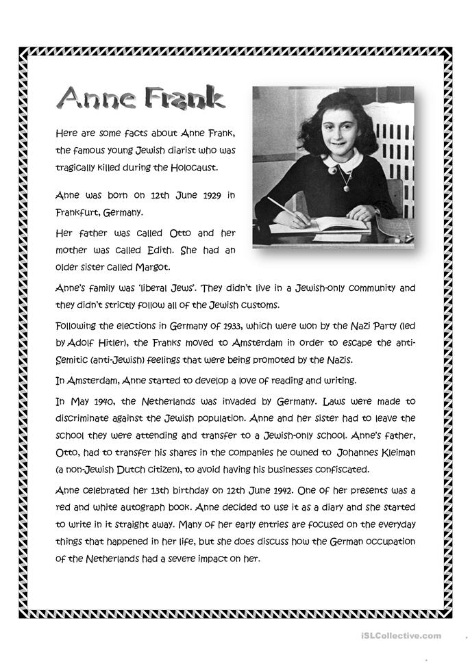 anne frank worksheet free esl printable worksheets made by teachers. Black Bedroom Furniture Sets. Home Design Ideas