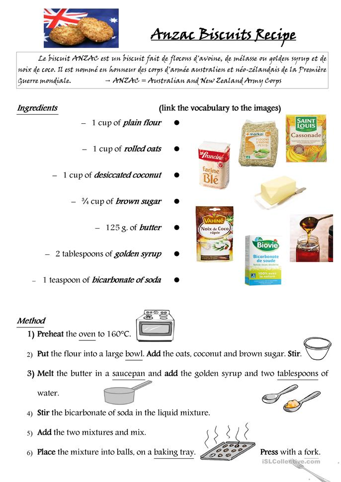 Recipe Worksheets For Students : Anzac biscuits recipe worksheet free esl printable