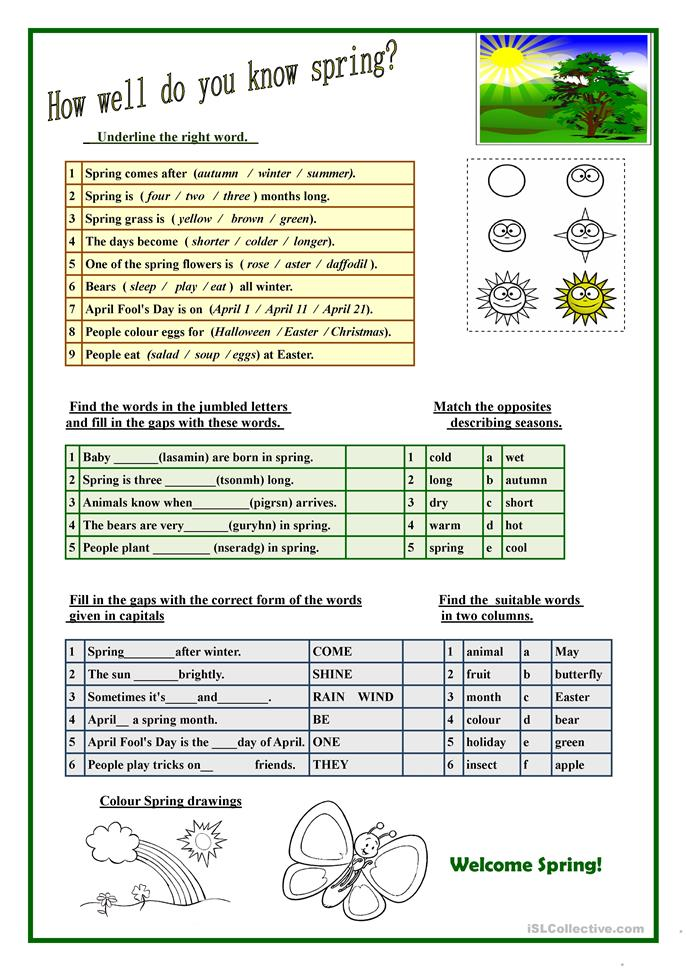 Spring English Worksheets : How well do you know spring worksheet free esl
