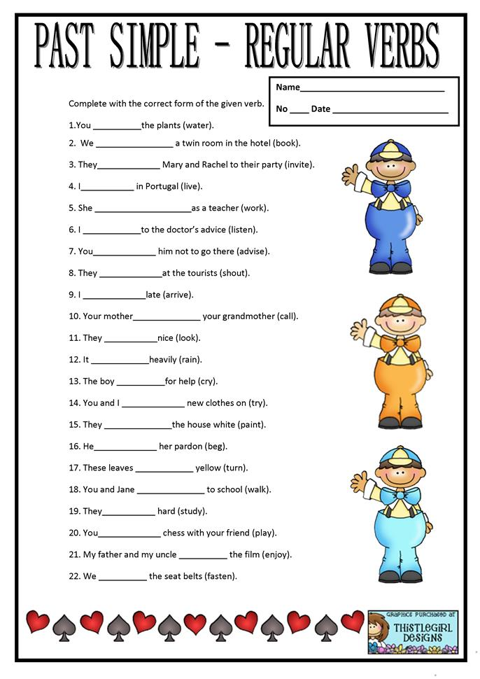 PAST SIMPLE REGULAR VERBS worksheet - Free ESL printable ...