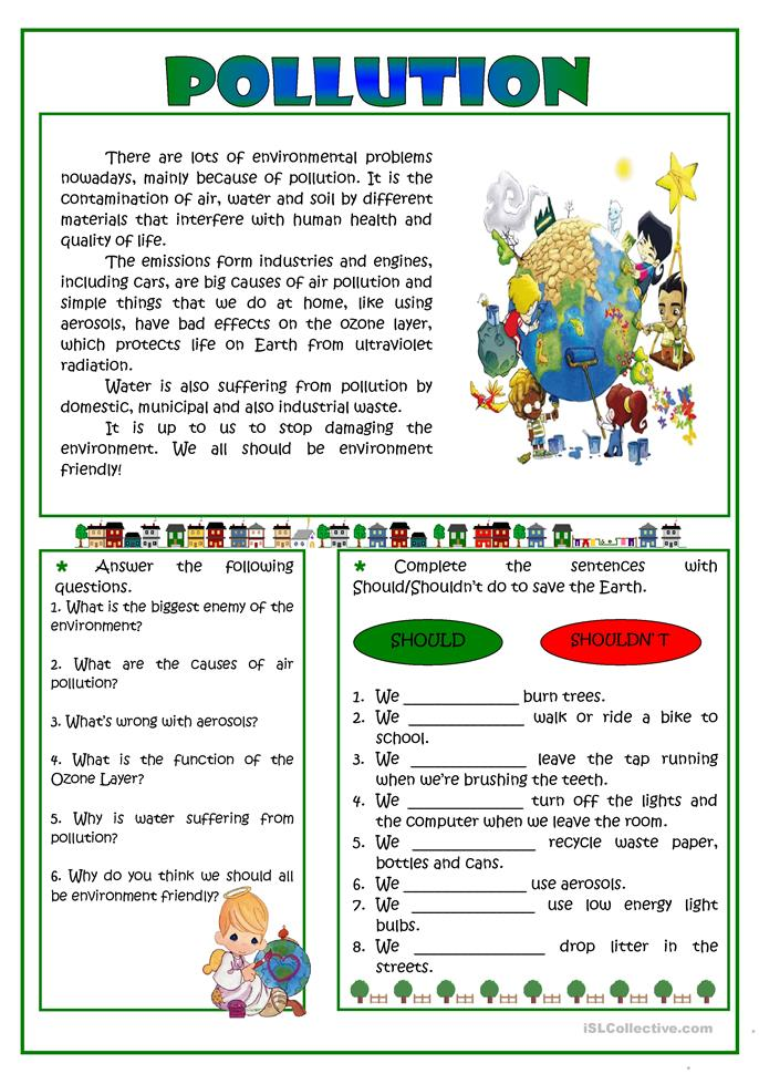 Pollution -reading worksheet - Free ESL printable worksheets made by ...