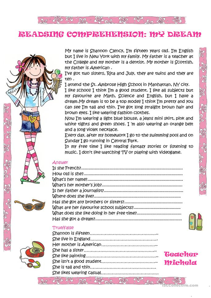 reading comprehension my dream worksheet free esl printable worksheets made by teachers. Black Bedroom Furniture Sets. Home Design Ideas