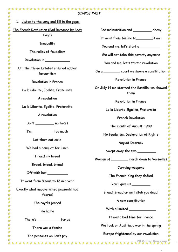 Printables French Revolution Worksheets the french revolution lady gaga song worksheet free esl printable worksheets made by teachers
