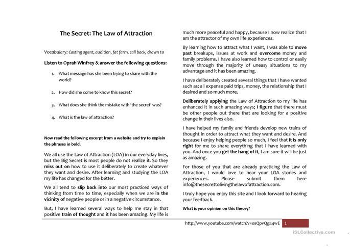 the secret law of attraction worksheet