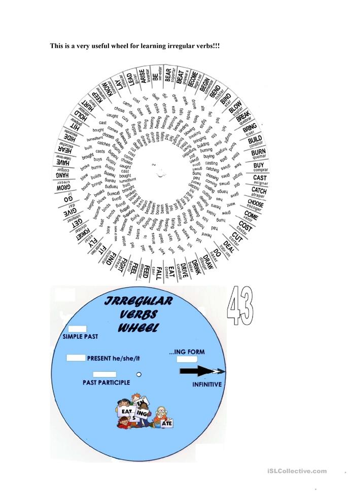 Verb Wheel worksheet - Free ESL printable worksheets made ...