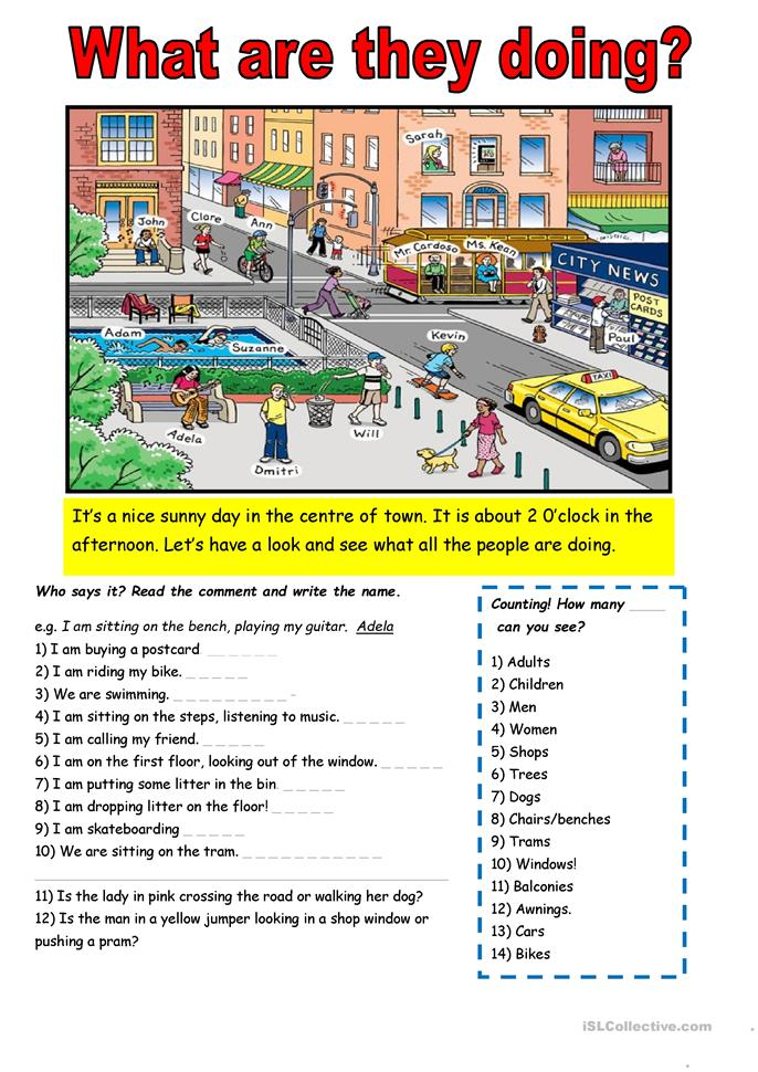 Student Doing Worksheet : What are they doing worksheet free esl printable
