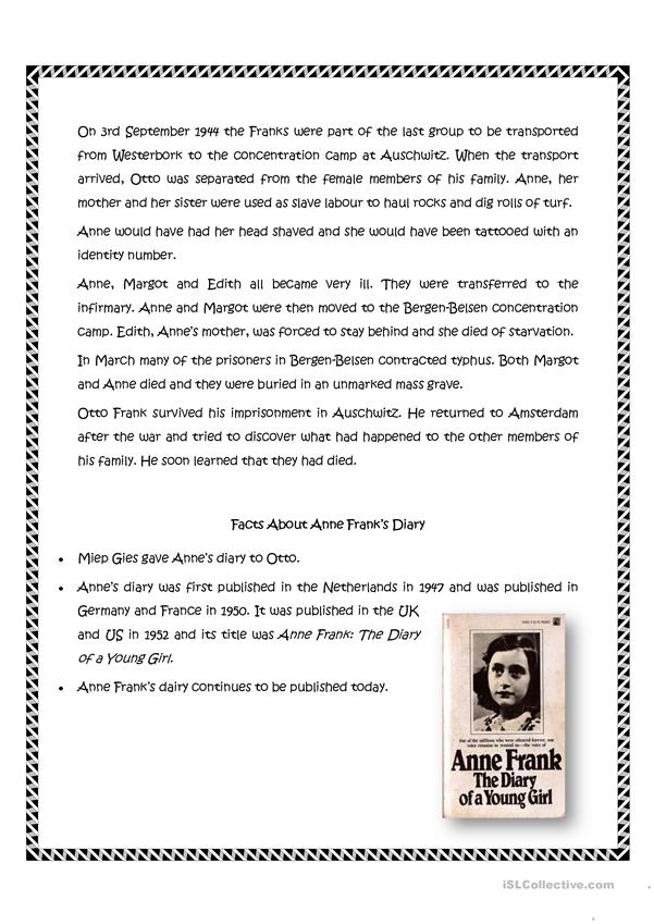 Anne Frank worksheet - Free ESL printable worksheets made ...