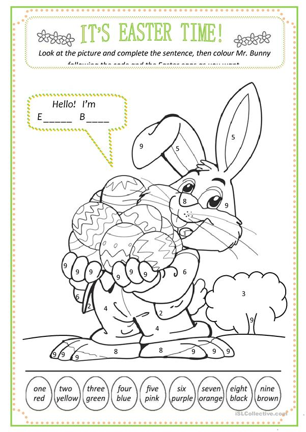 Easter: colour by numbers - English ESL Worksheets for ...