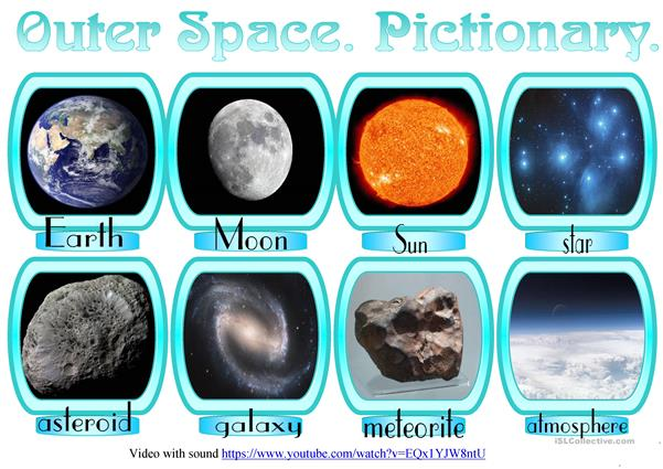 Outer Space. Pictionary. Worksheet