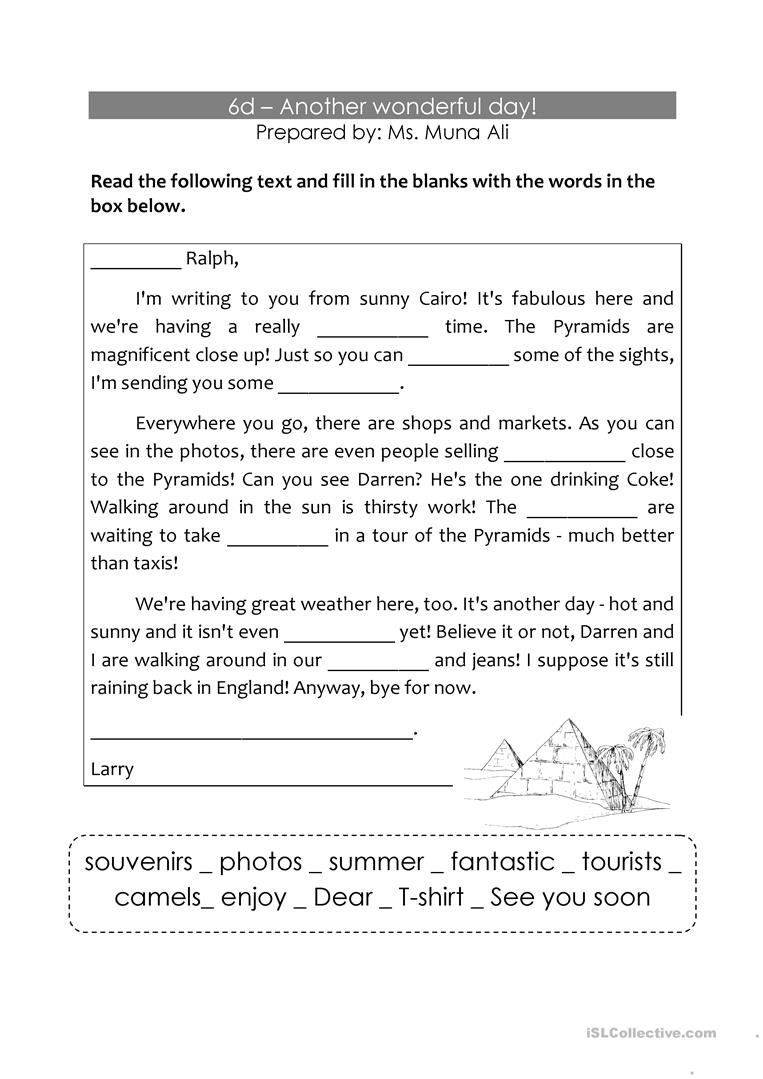a letter to a friend  english esl worksheets for distance