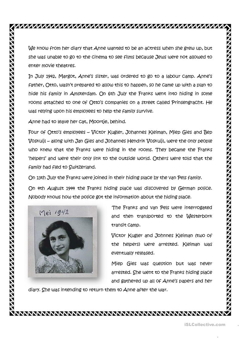 Worksheets Diary Of Anne Frank Worksheets anne frank worksheet free esl printable worksheets made by teachers full screen