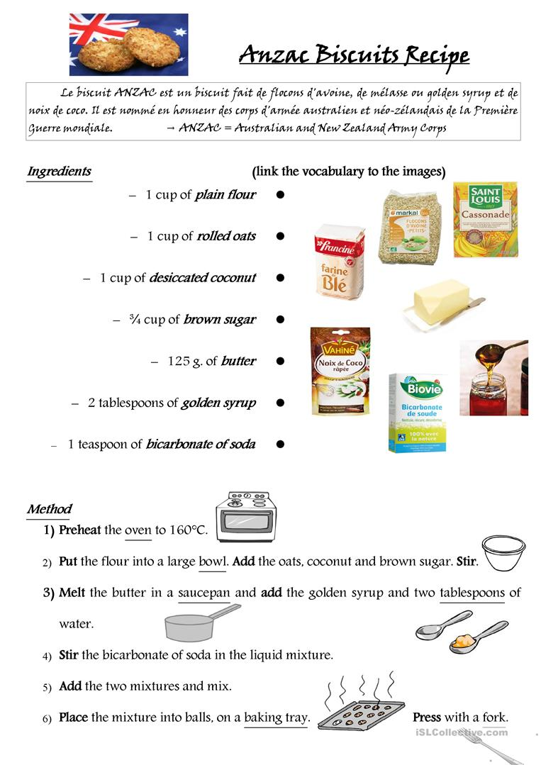 1 free esl australian food worksheets anzac biscuits recipe forumfinder Image collections
