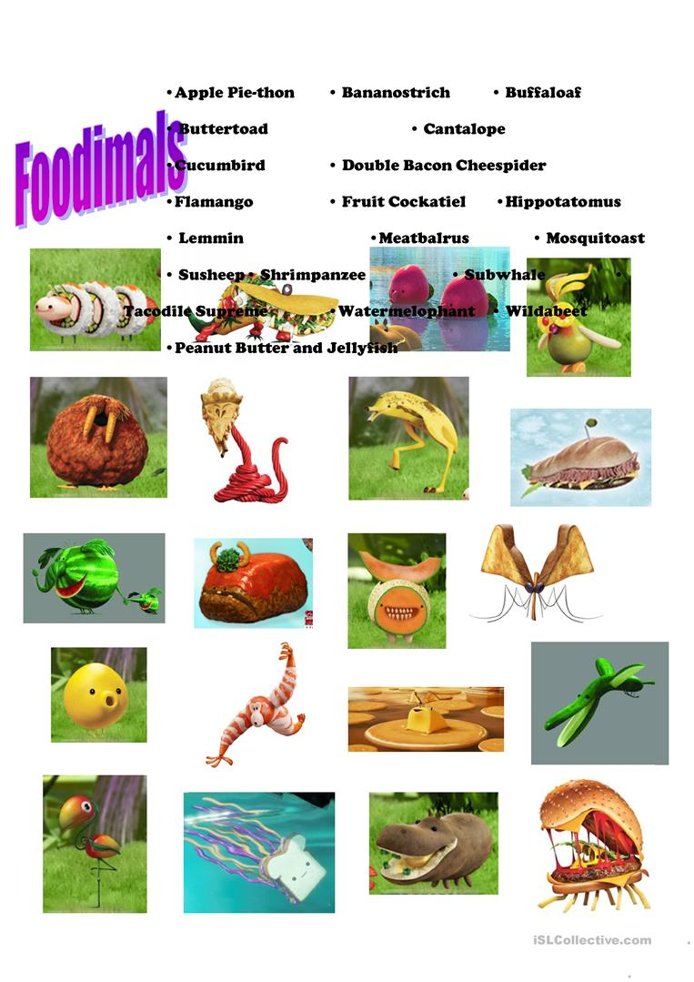 Foodimals Cloudy With A Chance Of Meatballs 2 Worksheet Free Esl