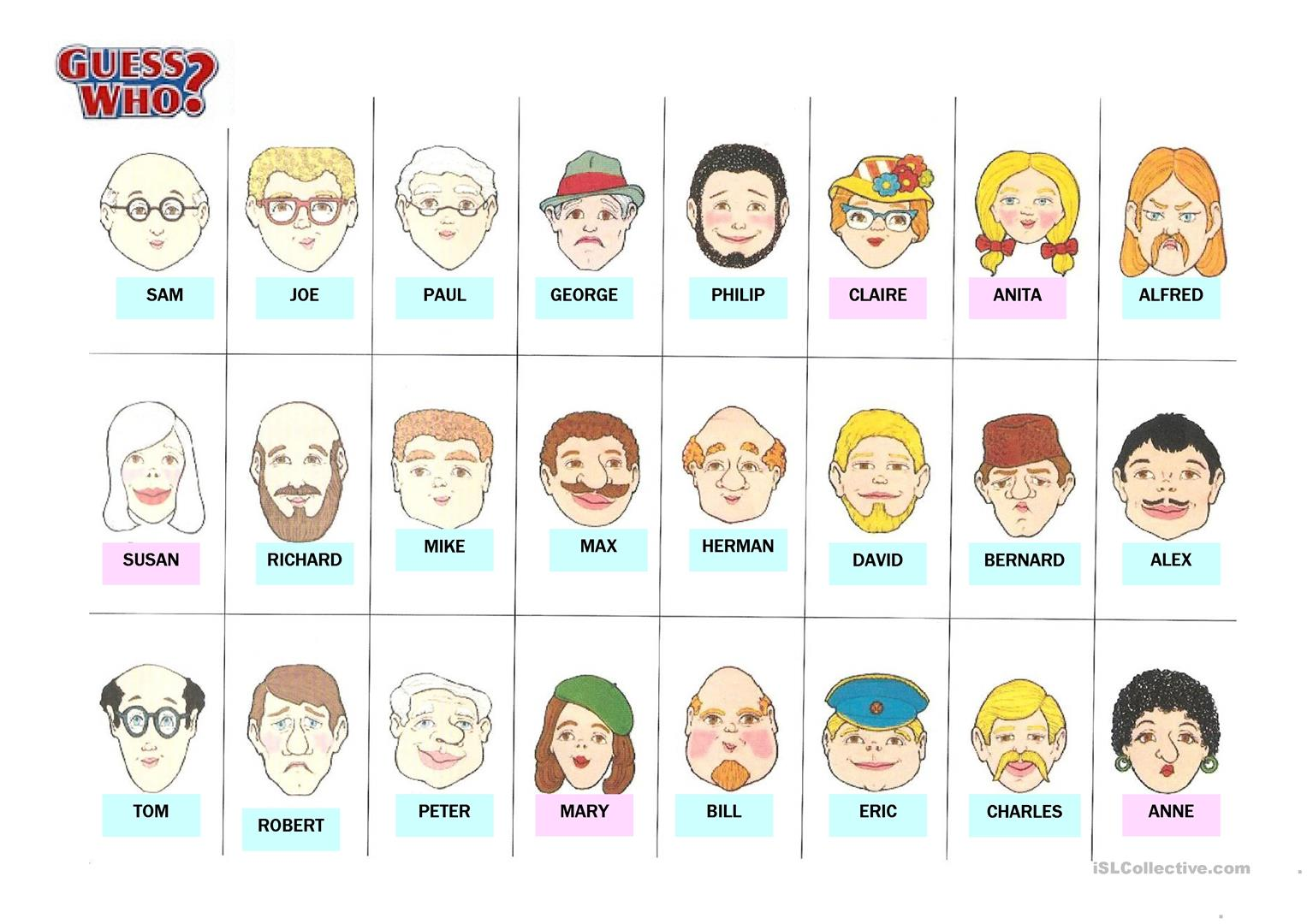 Revered image throughout guess who game printable