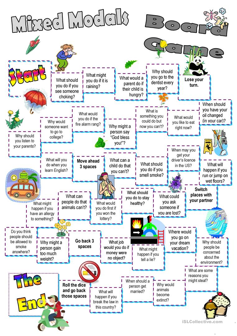 Mixed Modals Board Game - English ESL Worksheets