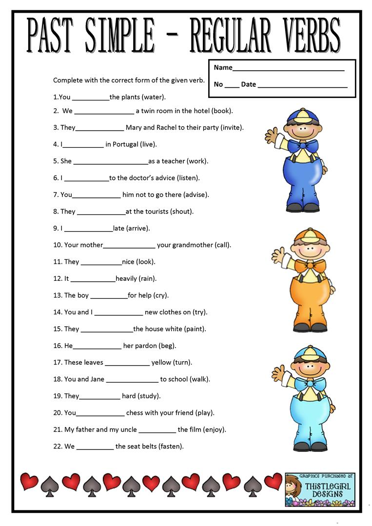 PAST SIMPLE REGULAR VERBS worksheet Free ESL printable – Regular Past Tense Worksheets