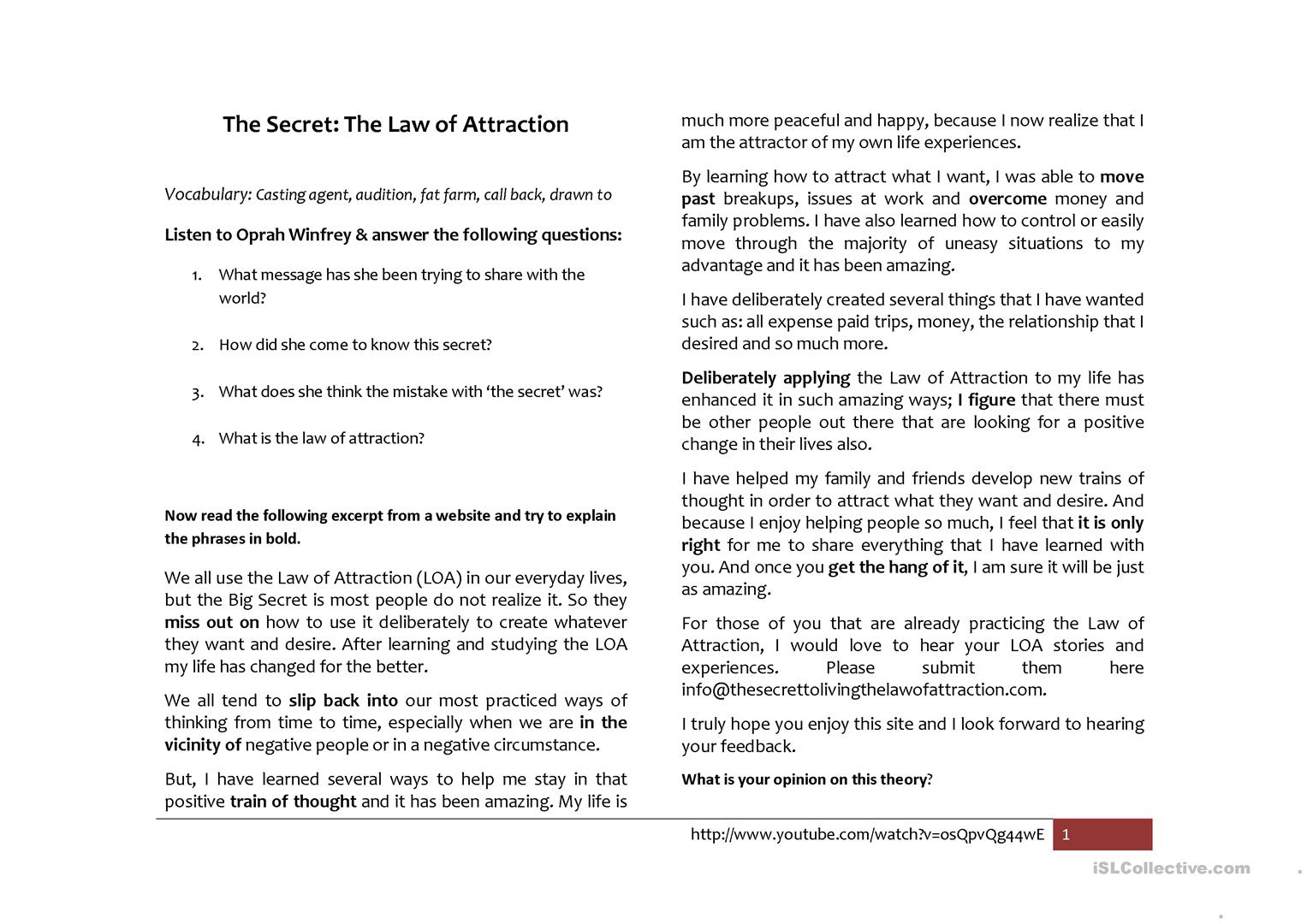 The Secret Law of Attraction worksheet Free ESL printable – Law of Attraction Worksheets