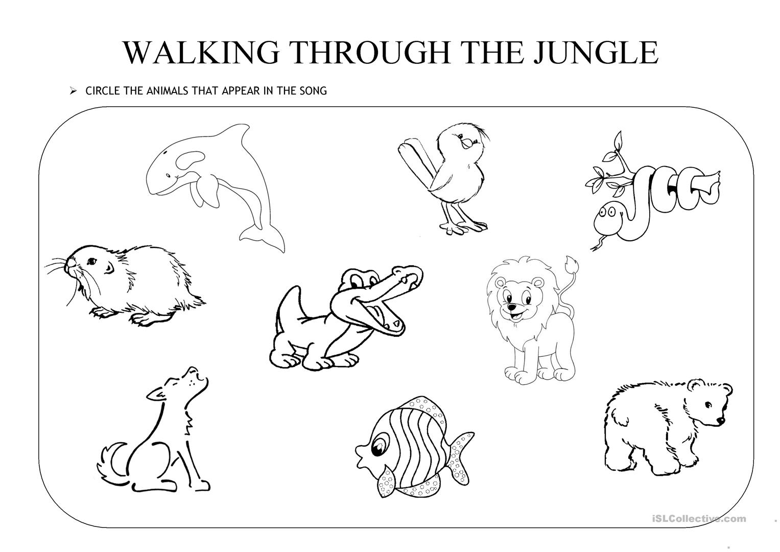 Jungle Animals Worksheet : Walking through the jungle worksheet free esl printable