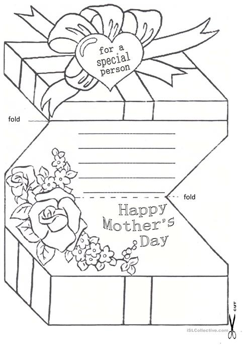 Mothers Day Card Worksheet Free Esl Printable Worksheets Made By
