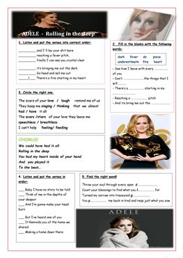 English ESL adele songs worksheets - Most downloaded (3 Results)