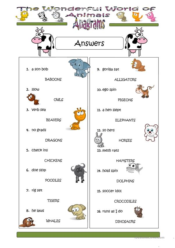Animal Anagram Answers