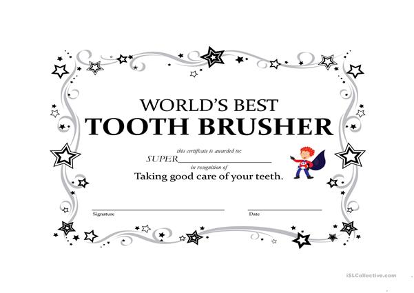 Certificate for Best Toothbrushing