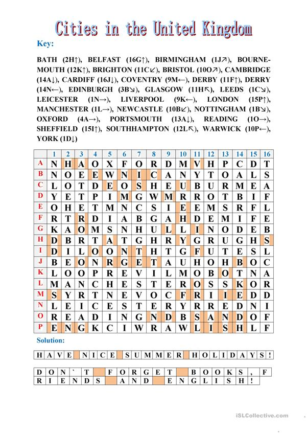 Cities in the United Kingdom (word search + key)