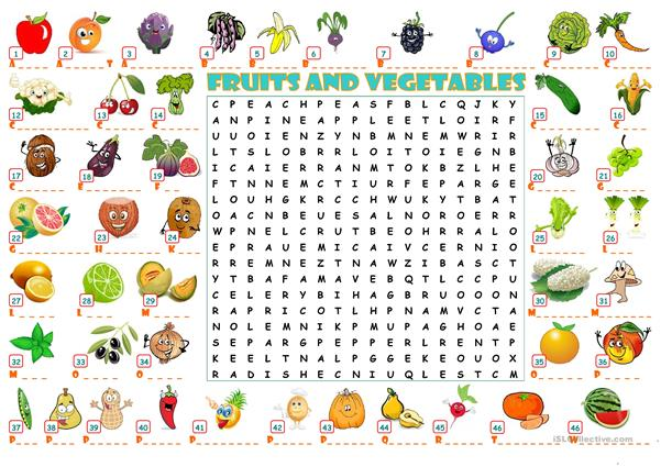 FRUITS AND VEGETABLES WORDEARCH