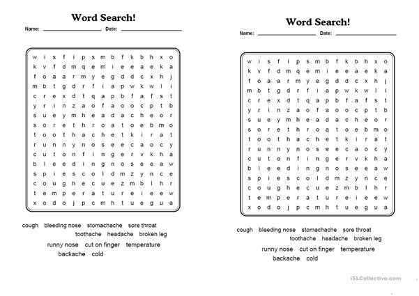 Health. Word search.