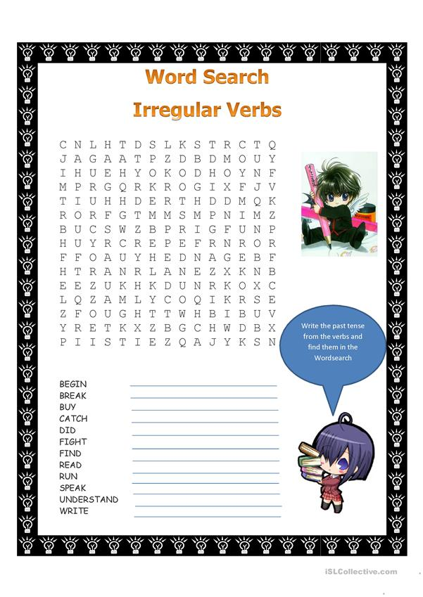 Past Tense wordsearch