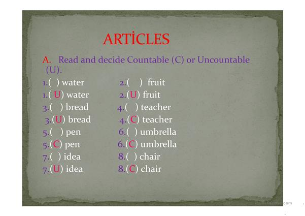 Read and decide Countable (C) or Uncountable (U).