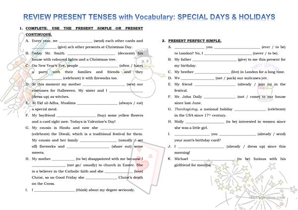 Review Present Tenses - Practice vocabulary