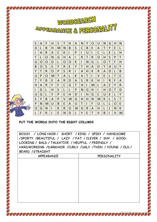 word search 'appearance & personality