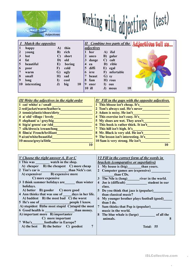Working with adjectives (test)