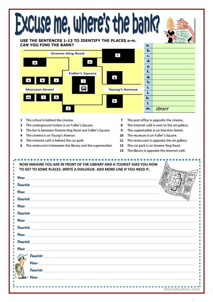 EXCUSE ME, WHERE'S THE MUSEUM? - ESL worksheets