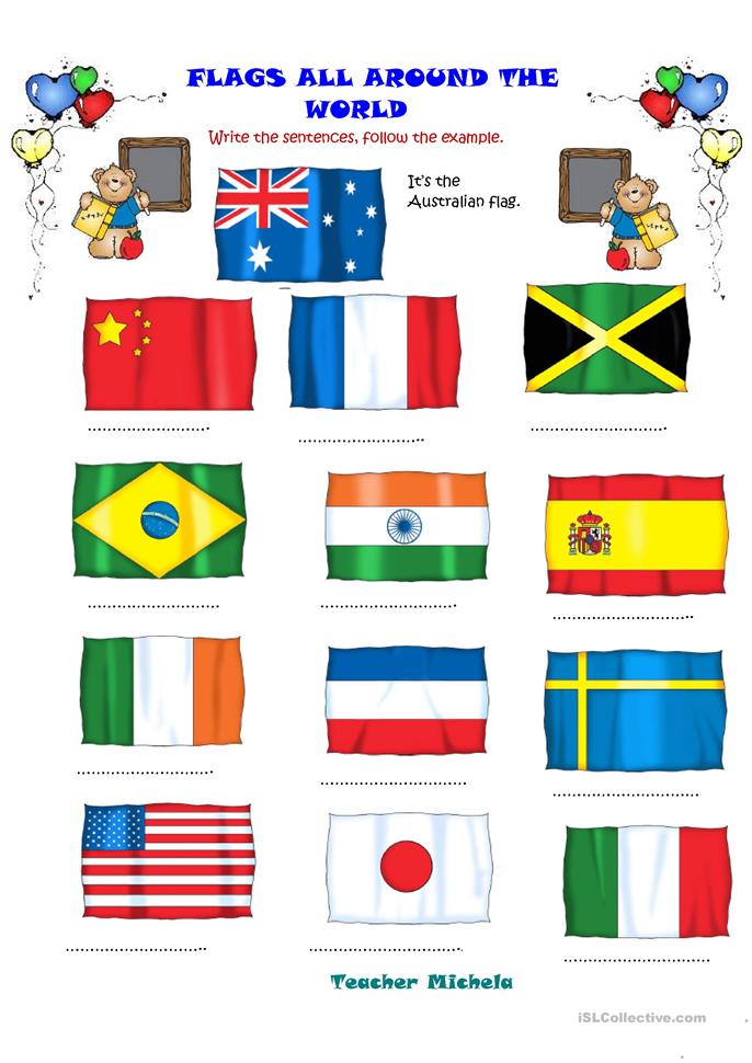 Flags all around the World - ESL worksheets