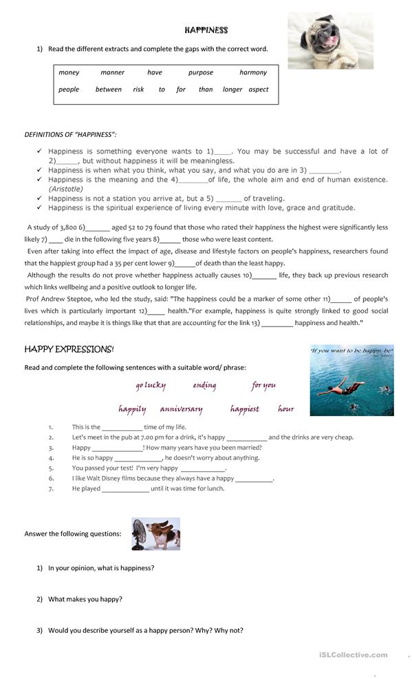 17 Free Esl Happiness Worksheets