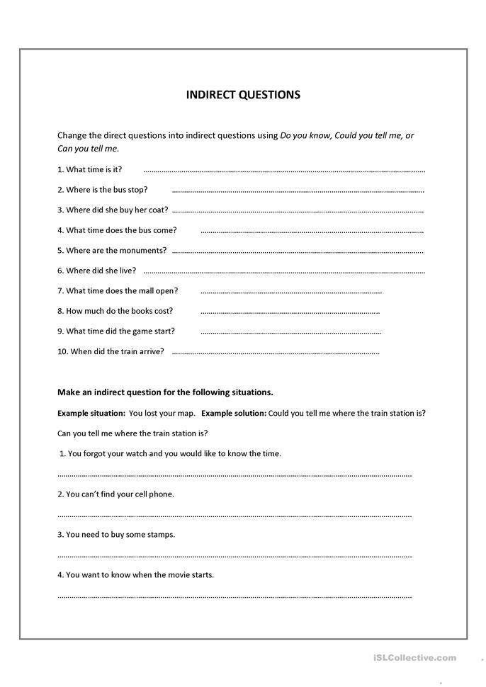 18 FREE ESL indirect questions worksheets
