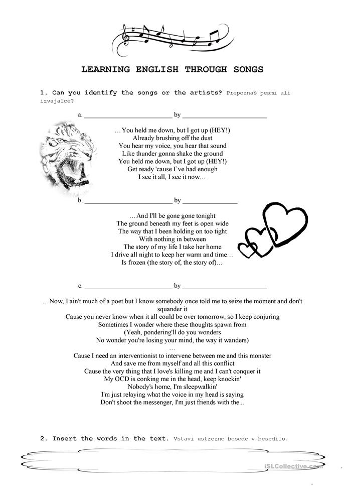 learning english through songs Learning english through song downloadable songs in mp3 format with printable lyrics in pdf format andrew pickett our most advanced songs for independent learning of english usage and.