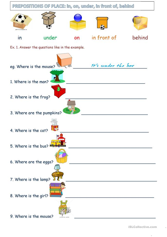 Preposition Of Place Worksheets - Davezan