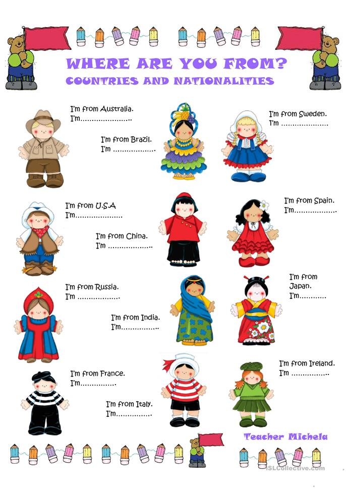 Who What Where When Worksheets : Where are you from countries and nationalities worksheet
