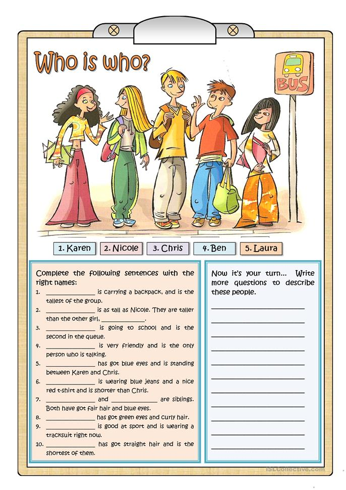 WHO IS WHO - ESL worksheets