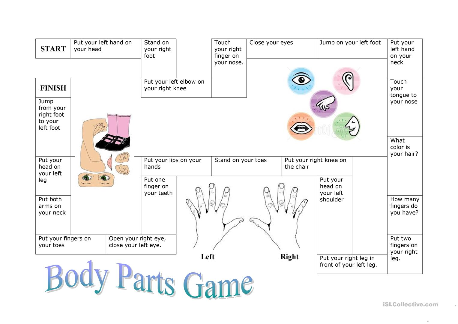 Body Part Board Game - English ESL Worksheets for distance ...
