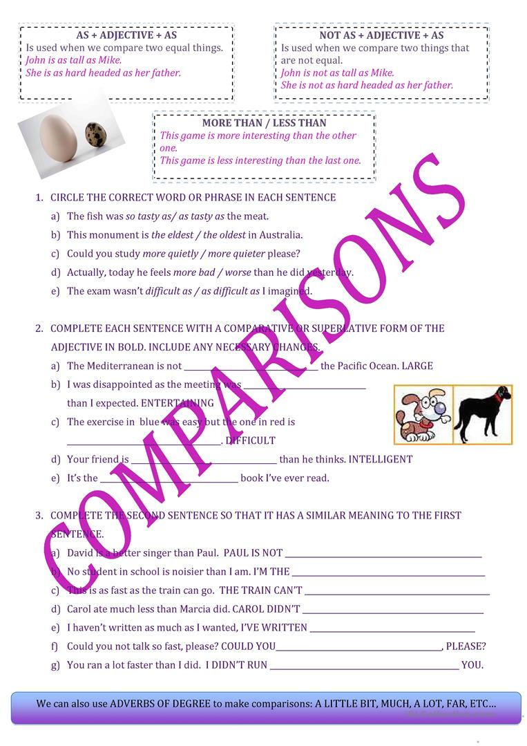 Abuelos visitantes Tibio Picotear  COMPARISONS: AS...AS / NOT AS... MORE AND LESS - English ESL Worksheets for  distance learning and physical classrooms