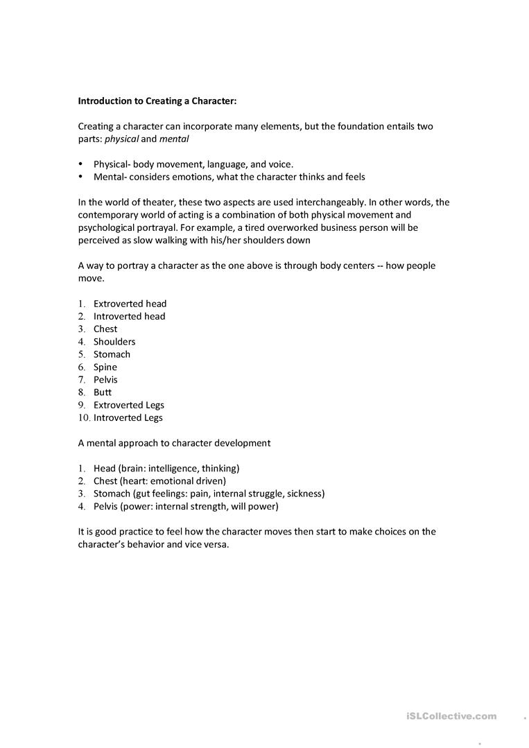 Intro to Acting worksheet - Free ESL printable worksheets made by